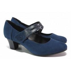 Модерни дамски обувки, еко-велур, кожена лента с велкро, декоративни камъни / Jana 8-24463-25 т.син / MES.BG