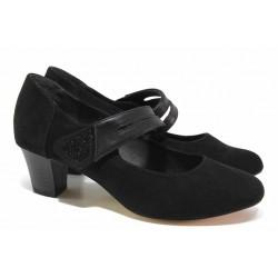 Класически дамски обувки, еко-велур, кайшка с велкро, гъвкави / Jana 8-24493-25 черен / MES.BG