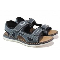 Немски мъжки сандали със велкро закопчаване, шита подметка, ANTISTRESS система / Rieker 25171-14 син / MES.BG
