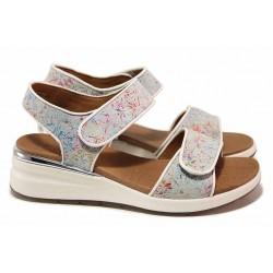 Анатомични немски сандали с каучукова подметка, естествена кожа, велкро лепенки / Caprice 9-28307-26 бял цветя / MES.BG