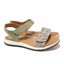 Анатомични немски сандали в маслинено зелено, естествен велур, велкро закопчаване / Caprice 9-28703-26 зелен змия / MES.BG