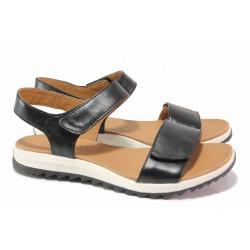 Анатомични немски сандали с велкро закопчаване, естествена кожа, олекотени / Caprice 9-28703-26 черен / MES.BG