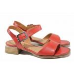 Немски дамски сандали, естествена кожа, велкро лепенки / Caprice 9-28207-26 червен / MES.BG