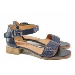 Ефектни немски сандали, естествена кожа, велкро лепенки / Caprice 9-28208-26 океан / MES.BG