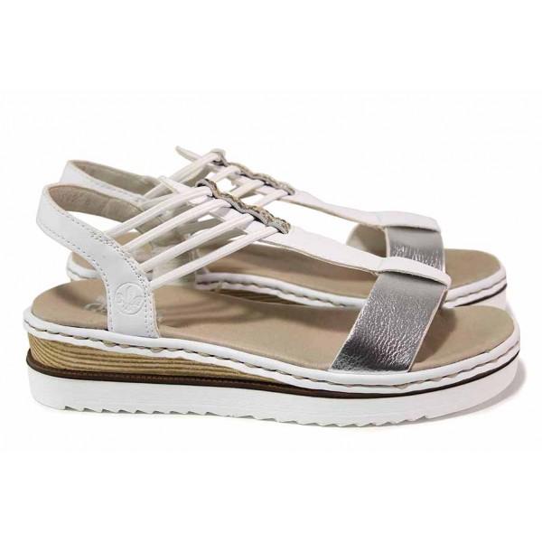 Анатомични дамски сандали, подходящи за широк крак, ANTISTRESS система / Rieker 679L1-91 бял / MES.BG