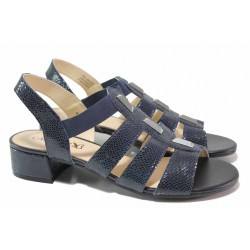 Удобни немски сандали с ластици, естествена кожа-лак, нисък ток / Caprice 9-28200-26 океан / MES.BG
