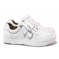 Равни анатомични обувки от естествена кожа, немски, връзки и цип / Caprice 9-23750-26 бял / MES.BG