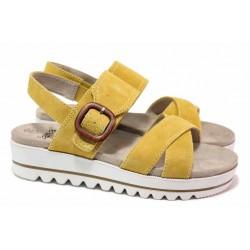 Анатомични дамски сандали с олекотена платформа, естествен велур, ластик и велкро / Jana 8-28251-26 шафран / MES.BG