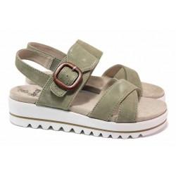 Немски сандали за широк крак, олекотена платформа, естествен велур, велкро закопчаване / Jana 8-28251-26 зелен / MES.BG