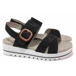 Олекотени немски сандали от естествен велур, велкро закопчаване, удобна платформа, анатомични / Jana 8-28251-26 черен / MES.BG