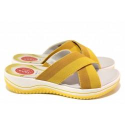 """Немски ортопедични чехли, дамски, ходило """"Relax"""", ластик за корекция / Jana 8-27231-26 жълт / MES.BG"""