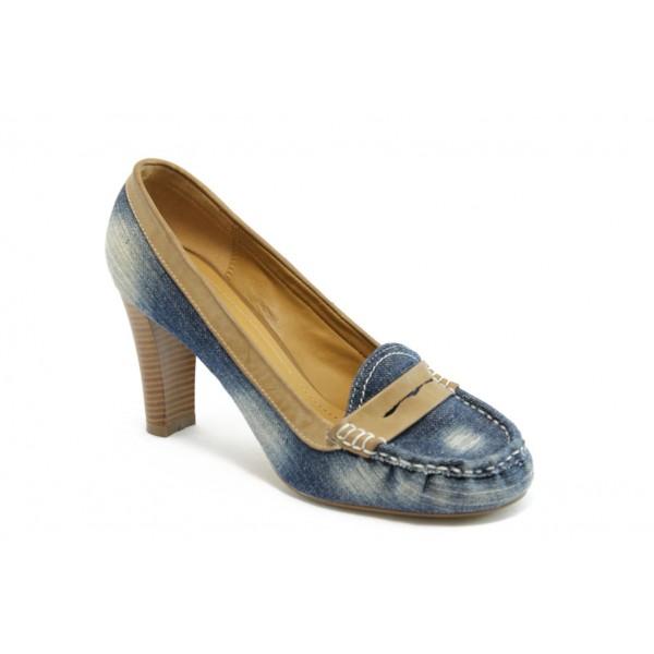 Дамски дънкови обувки на ток КП 0844 сини