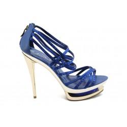 Дамски сандали на висок ток ФР 0886 синьо