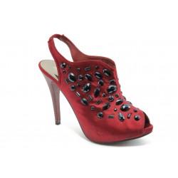 Дамски обувки с отворена пета ФР 2011-5 червени