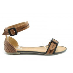 Равни дамски сандали ПИ1132Кафе