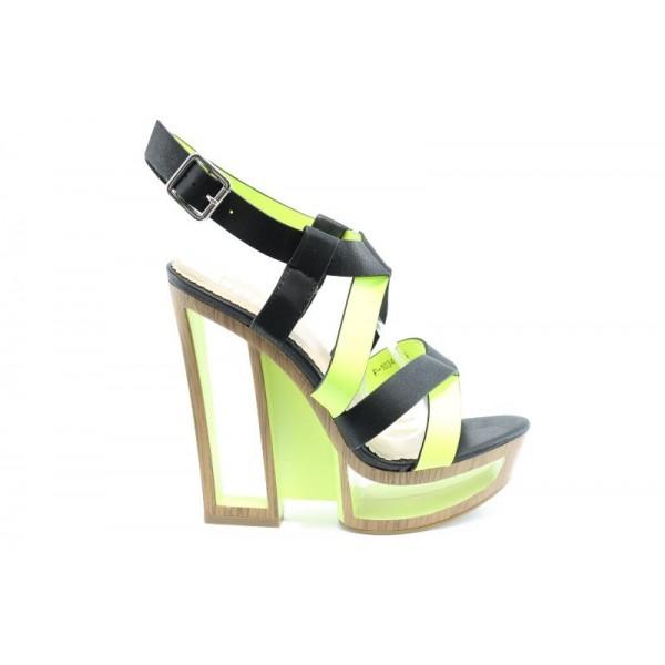 Дамски сандали на ток ПИ 1034 Зелен