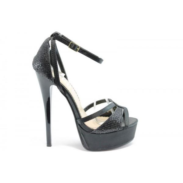 Дамски сандали на висок ток ПИ 1033Черен