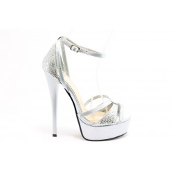 Дамски сандали на висок ток ПИ 1033СИВ