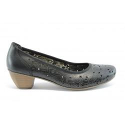Немски обувки на ток естествена кожа Rieker 41776Черен