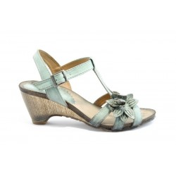 Дамски анатомични сандали на ток ИО 1389Зелен