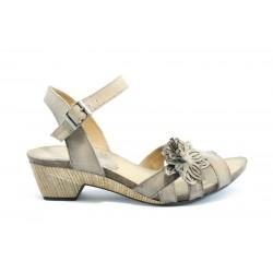 Дамски сандали на ток естествена кожа ИО 1364БЕЖ