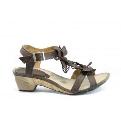 Дамски анатомични сандали на ток естествена кожа ИО 1278Кафе