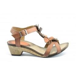 Дамски анатомични сандали на ток естествена кожа ИО 1278Оранж