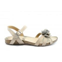 Дамски равни сандали естествена кожа ИО 1271БЕЖ