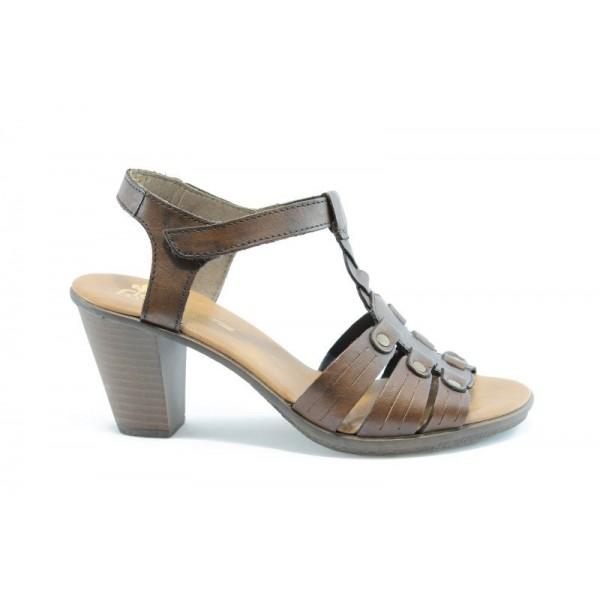 Немски сандали на ток естествена кожа Rieker 64168Кафе