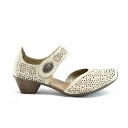 Немски обувки на ток Rieker 49764 бежов