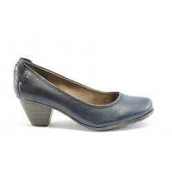 Немски обувки на ток естествена кожа Jana 22404Син