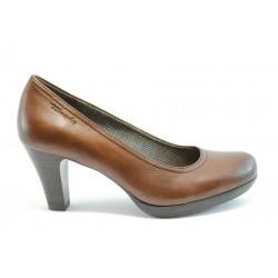 Немски обувки на ток естествена кожа Tamaris 22410Кафе ANTISHOKK