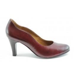 Немски обувки на ток естествена кожа Caprice 22400Бордо ANTISHOKK