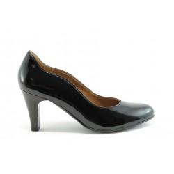 Немски обувки на ток естествена кожа Caprice 22400Черен лак ANTISHOKK