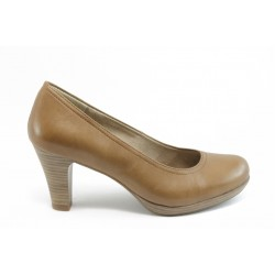 Немски обувки на ток естествена кожа Tamaris 22410 беж ANTISHOKK