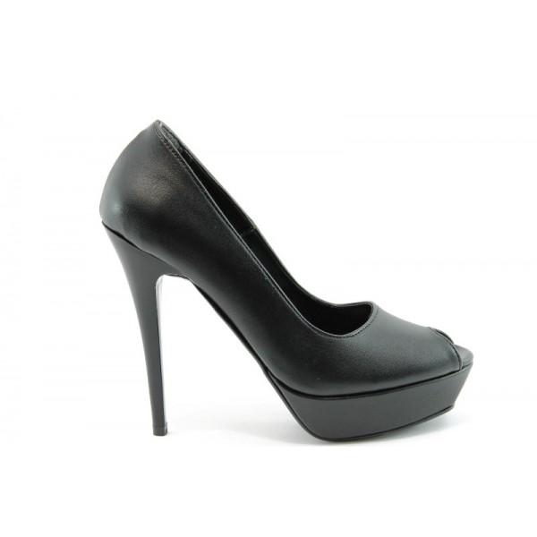 Елегантни дамски обувки на висок ток ДС 3390 черна кожа
