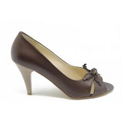 Дамски обувки на ток естествена кожа ГО 4081-2к
