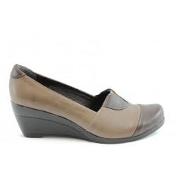 Дамски обувки на платформа естествена кожа МИ К08Кафе