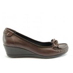Дамски обувки естествена кожа МИ 2632 кафе кожа-велур
