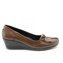 Дамски обувки на платформа естествена кожа МИ 2632 кафе кожа