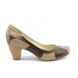 Дамски обувки на ток естествена кожа МИ 836кафе
