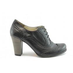 Дамски обувки на висок ток с връзки МИ 606черно