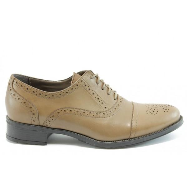 Дамски обувки с връзки ГО 4443беж.к.н