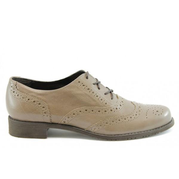 Дамски обувки с връзки ГО 7050беж