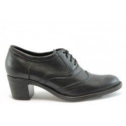 Дамски обувки на ток естесвтена кожа ГО 0301черен