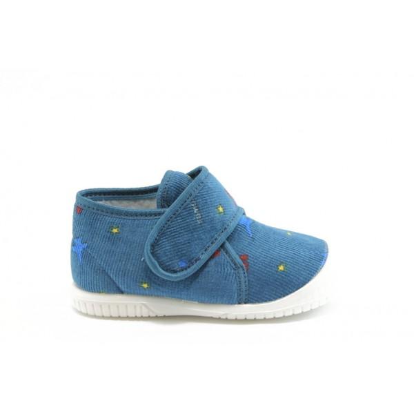 Детски пантофки с лепенка БО топъл хастар сини