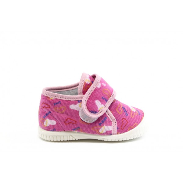 Детски пантофки с лепенка БО топъл хастар роз. сърца