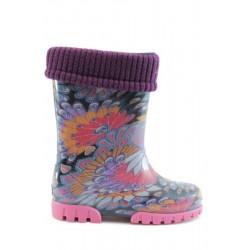 Детски гумени ботуши с топъл свалящ се чорап Demar 0039 паун 28/35 | Гумени ботуши |MES.BG