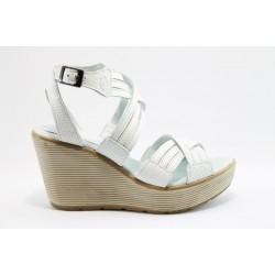 Дамски сандали на платформа естествена кожа МЙ 24167Бял