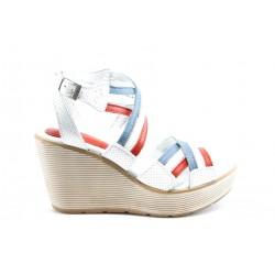 Дамски сандали на платформа естествена кожа МЙ 24167БялСин
